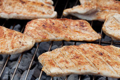 Hearty barbecue. Fresh turkey steaks with on a grill Royalty Free Stock Image