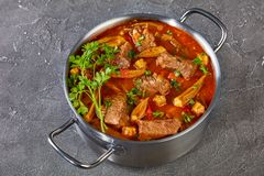 Hearty Beef and Okra Stew, top view royalty free stock images