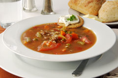 Hearty bowl of vegetable beef soup Royalty Free Stock Images