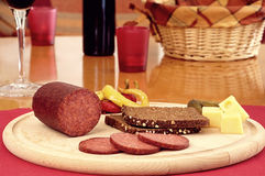 Hearty Bread Salami Cheese Snack Stock Images