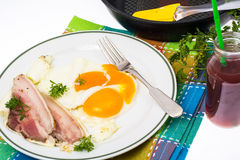 Hearty breakfast with bacon and fried eggs Royalty Free Stock Photography