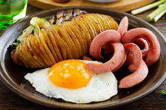 A hearty breakfast of baked potatoes (accordion) Stock Photos