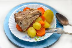 A hearty breakfast of chicken stewed carrot potatoes on a plate Royalty Free Stock Photo