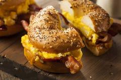 Hearty Breakfast Sandwich on a Bagel Stock Images