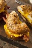 Hearty Breakfast Sandwich on a Bagel Royalty Free Stock Photo