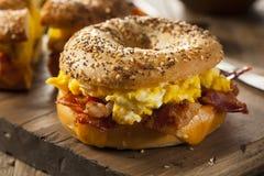Hearty Breakfast Sandwich on a Bagel Royalty Free Stock Images