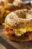 Hearty Breakfast Sandwich on a Bagel Royalty Free Stock Photos