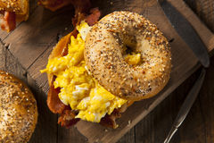 Hearty Breakfast Sandwich on a Bagel Royalty Free Stock Image
