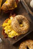 Hearty Breakfast Sandwich on a Bagel Royalty Free Stock Photography