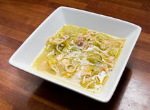 Hearty broth. Hearty home cooked broth made from leftover turkey, ham, leeks, noodles and peas Stock Images