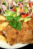 Hearty Chicken Schnitzel 2. Hearty homemade chicken schnitzel with salad and chips royalty free stock images