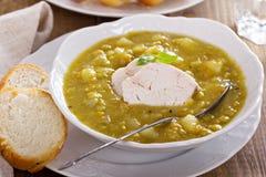 Hearty chicken split pea soup Stock Photos