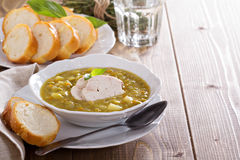 Hearty chicken split pea soup. Hearty and thick chicken split pea soup Stock Photo