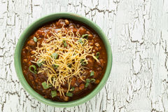 Hearty Chili. A bowl of hearty chili royalty free stock images
