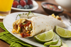 Hearty Chorizo Breakfast Burrito Royalty Free Stock Photos