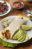 Hearty Chorizo Breakfast Burrito Stock Photos