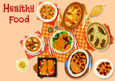 Hearty dishes with baked meat and fish icon. Hearty dishes with meat and fish icon of lamb stew, bean stew with sausage, baked fish in sour cream, cabbage Stock Photos