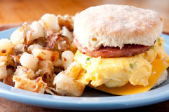 Hearty egg, sausage and cheese sandwich  Stock Photo