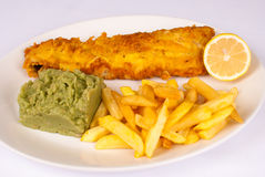 Hearty fish and chips Stock Images