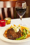 flat iron steak with mashed potatoes and wine Stock Photo