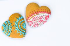 Heart shaped cookies for valentine day on a white background. Top view, copy space Stock Photos
