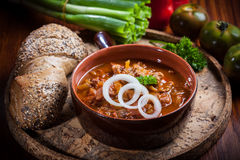 Hearty goulash soup. Traditional Hungarian cuisine Royalty Free Stock Photos