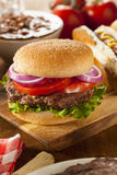 Hearty Grilled Hamburger with Lettuce and Tomato Royalty Free Stock Photos