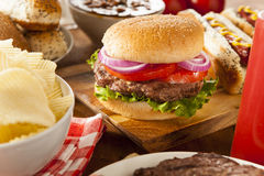 Hearty Grilled Hamburger with Lettuce and Tomato Royalty Free Stock Image