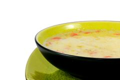 Hearty Homemade Soup. A bowl of hearty homemade soup in a ceramic bowl Stock Photo
