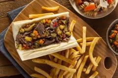 Hearty Italian Beef Sandwich Stock Images