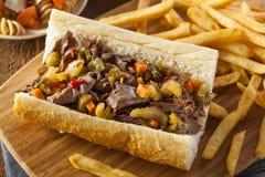 Hearty Italian Beef Sandwich Stock Photo