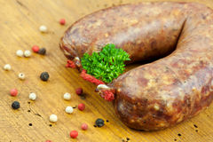 Hearty meat platter. With black pudding and crispy sausage Royalty Free Stock Photos