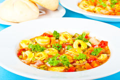 Hearty pasta soup Stock Images
