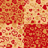 Hearty pattern. Endlessly recurring pattern formed in various modules of a heart-shaped symbols vector illustration
