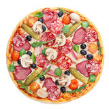 Hearty pizza. Delicious, thick, hearty, rich italian pizza. Top view. Isolated on white royalty free stock image