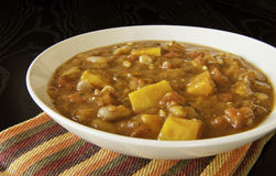 Hearty Pumplin Stew. Hearty stew of pumpkin, tomatoes, beans and vegetables stock photography