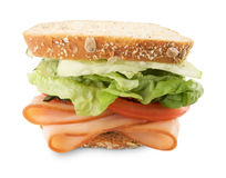 Hearty Sandwich Isolated on White. Hearty Sandwich Filled with Vegetables and Sliced Meat Isolated on White Royalty Free Stock Photo