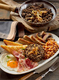 Hearty Scottish breakfast with haggis Stock Photos