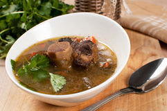 Hearty soup with bone-in ox tail. Meat Stock Images