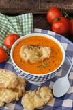 Hearty tomato soup. With rosemary and slices of cheese baguette royalty free stock image