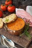 Hearty tomato soup. With rosemary and slices of cheese baguette royalty free stock photo