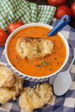 Hearty tomato soup. With rosemary and slices of cheese baguette stock photo
