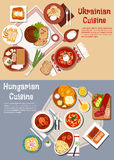 Hearty ukrainian and hungarian dinners flat icon Royalty Free Stock Photos