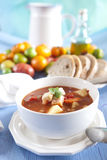 Hearty vegetable soup. With potatoes, carrots, tomatoes and other ingredients Royalty Free Stock Photography