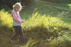 Heary girl walking. Heary little girl walking on the meadow stock photography