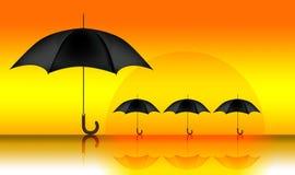 Heat. An illustration of umbrellas in the desert Stock Photo