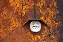 Heat - 450 Fahrenheit. Grungy looking industrial thermometer reading high temperature Royalty Free Stock Image