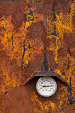 Heat - 450 Fahrenheit. Grungy looking industrial thermometer showing 450 degrees Fahrenheit Royalty Free Stock Images