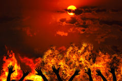 Heat. Red background with fire and sunset Royalty Free Stock Image