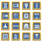 Heat cool air flow tools icons set blue square vector. Heat cool air flow tools icons set vector blue square isolated on white background Royalty Free Stock Image
